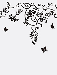 cheap -Black Flower Vine Butterfly Background Art Wall Stickers PVC Removable Living Room Wall Decals