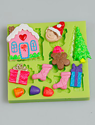 Cake Tools Christmas Tree Gift House Fondant Silicone Mold for Cake Decorating Color Random