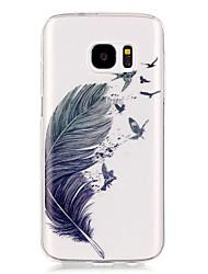 Недорогие -Кейс для Назначение SSamsung Galaxy Samsung Galaxy S7 Edge Прозрачный / С узором Кейс на заднюю панель  Перья Мягкий ТПУ для S7 edge / S7 / S6 edge