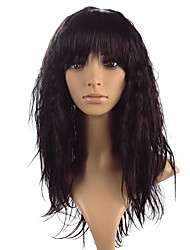 cheap -Synthetic Wig kinky Straight With Bangs Synthetic Hair Heat Resistant Black / Brown Wig Women's Long Lace Front Wig