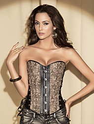 YUIYE® Women Sexy Lingerie Waist Training Corset Bustier Tops Shapewear Khaki Floral Print Overbust S-2XL