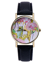 cheap -Flamingo Tropical Watch ,Vintage Style Leather Watch,Women Watches,Unisex Watch,Men's Watch,Palm Leaves,Green Cool Watches Unique Watches