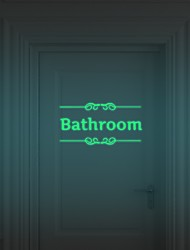cheap -Luminous Wall Stickers Bathroom Decoration Toilet Door Vinyl Wall Art Decals Glow In The Dark Quote Sticker