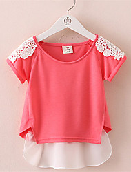 Summer 2016 Girls T shirts Girls Tops and Tees Kids Cotton Shirt White Lace Collar Bottoming Children