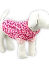 cheap -Cat Dog Sweater Dog Clothes Casual/Daily Keep Warm Solid Blue Pink Costume For Pets