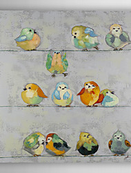 Hand Painted Oil Painting Animal The Birds Standing On Wire Rod with Stretched Frame 7 Wall Arts®