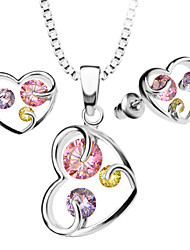 Pendants Necklaces Earrings Set For Women 18K Gold Plated Austrian crystal Zircon Fashion Heart Jewelry Sets S20104