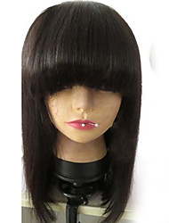 "Unprocessed 8""-16"" Virgin Brazilian Natural Color Silky Straight Bob Full Lace Wig Human Hair Lace Front Wig With Bangs"