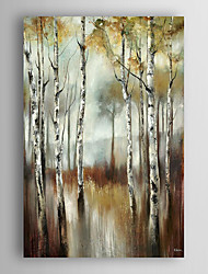 cheap -Hand Painted Oil Painting  Landscape Abstract The Water of Birch Trees with Stretched Frame 7 Wall Arts®