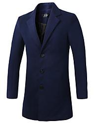 cheap -Men's Long Coat - Solid Colored