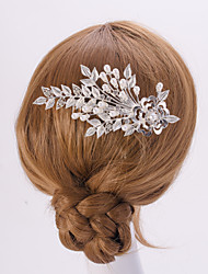 cheap -Silver/Gold Leaf FLower Shape Crystal Pearl Hair Combs for Wedding Party Lady