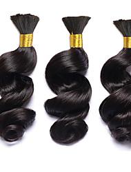 Echthaar Brasilianisches Haar Menschenhaar spinnt Leicht gelockt Haarverlängerungen 3 Stück Schwarz