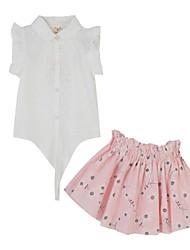 preiswerte -Mädchen Kleidungs Set-Baumwolle Sommer Weiß