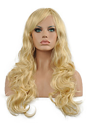 New Women's Fashion Synthetic Hair Wig Long Wavy Oblique Bangs Blonde Fiber Heat Resistant Lady Sexy Hair Full Wig