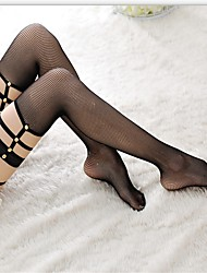 Women's Hosiery Thin Stockings,Nylon Black Beige Black/Beige