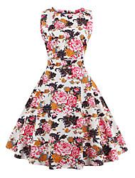 cheap -Women's Plus Size Vintage A Line Dress - Floral, Print