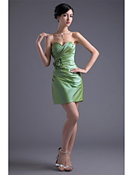 abordables -Fourreau / Colonne Coeur Courte / Mini Taffetas Soirée Cocktail Robe avec Fleur(s) Pan drapé Plissé par XFLS