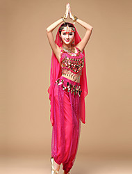 cheap -Shall We Belly Dance Outfits Women's Performance Chiffon Sleeveless Dropped Tops Pants Waist Accessory