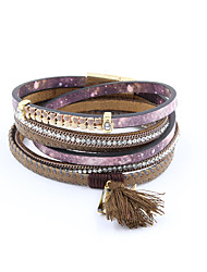 Fashion Women 3 Rows Stone Set Enamel Fabric Tassel Wrap Bracelet