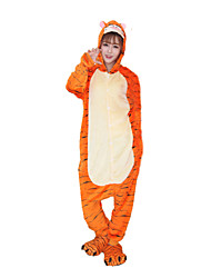 billige -Voksne Kigurumi-pyjamas Tiger Onesie-pyjamas Kostume Flanel Fleece Cosplay Til Nattøj Med Dyr Tegneserie Halloween Festival / Højtider