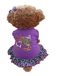 Недорогие -Собака Платья Одежда для собак С сердцем Животное Лиловый Хлопок Костюм Для домашних животных