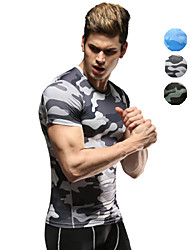 cheap -Vansydical® Men's Running Shirt - Black, Green, Blue Sports Camouflage Tee / T-shirt / Compression Clothing / Top Fitness, Gym, Workout Short Sleeve Activewear Quick Dry, Breathable High Elasticity