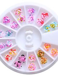 Недорогие -12 цветов 6мм смолы розы цветы 3d искусства ногтя обивает подсказки блестки поделки колеса украшения цветочный дизайн для ногтей