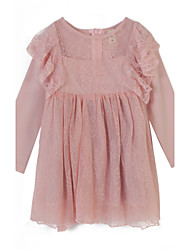 cheap -Girl's Jacquard Dress, Cotton Summer Long Sleeves Lace Pink