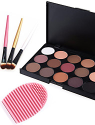 cheap -15 Colors 2in1 Matte&Shimmer Smoky Eyeshadow/Eyebrow Powder Cosmetic Palette+4PCS Eyeshadow Brush+1 Brush Egg