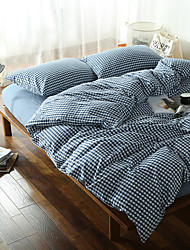 cheap -Dark blue Plaid Washed Cotton Bedding Sets Queen King Size Bedlinens 4pcs Duvet Cover Set