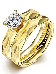 lureme® Two Lines Golden Plated Stainless Steel Matte Brushed Big Zircon Womens Girls Ring