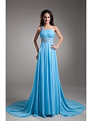 cheap -A-Line One Shoulder Court Train Chiffon Formal Evening Dress with Beading Pleats by LAN TING Express