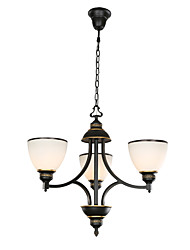 3 Light 22 inch Ceiling Light Fixture, Black