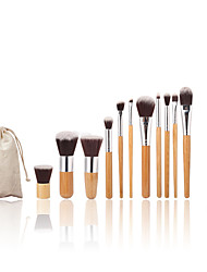 11pc Bamboo Handle and​ Nylon Hair Cosmetic Makeup Brush Set And Makeup Toothbrush