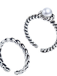 cheap -Antique Silver Vintage Style Pearl Open Band Midi Ring for Men/Women Jewelry(2PCS/Set)
