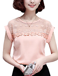 cheap -Summer Casual Women Fashion Lace Splice Round Neck Short Sleeve Chiffon Blouse Slim Shirt Tops