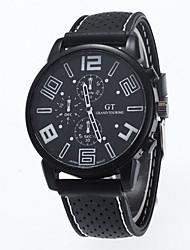 cheap -Men's Quartz Wrist Watch Casual Watch Silicone Band Charm Black