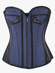cheap -YUIYE® Women Sexy Lingerie Waist Training Bustier Tops Shapewear Waist Cincher Blue Jean Diamond Zip Corset