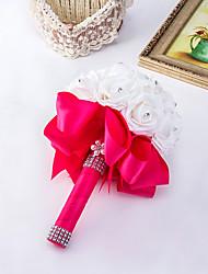 cheap -Pure White Flower Elegant Hand Made Decorative Artificial Crystal Beaded Flower Bride Vestidos Wedding Bouquets