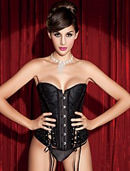 cheap -YUIYE® Women Sexy Lingerie Waist Training Corset Set Bustier Shapewear Plus Size Black Lace Up Overbust Corset