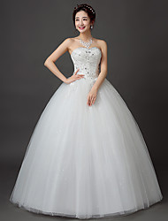 cheap -Ball Gown Sweetheart Floor Length Lace Satin Tulle Wedding Dress with Lace by Embroidered bridal