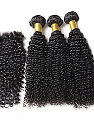 Trama do cabelo com Encerramento Cabelo Brasileiro Kinky Curly tece cabelo
