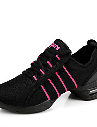 cheap -Women's Dance Sneakers Synthetic Sneaker Performance Practice Lace-up Chunky Heel Black White Red Non Customizable