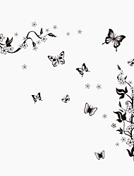 cheap -Black Butterfly Botanical Background Wall Art DIY Living Room Bedroom Wall Stickers PVC Wall Decals