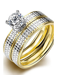 cheap -lureme® Luxurious Golden and Silver Tone Line Carved Stainless Steel Big Zircon Womens Girls Ring 2Pcs A Set