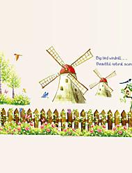 cheap -Windmill Flower Fences Wall Stickers Leisure DIY Children's Bedroom Glass Wall Decals Environmental Wall Art