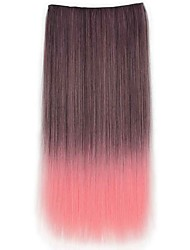cheap -24 Inch Long Straight Synthetic Clip In Hair Extensions with 5 Clips - 8 Colors Available