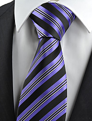 cheap -KissTies Men's Necktie Purple Black Striped Wedding/Business/Work/Formal/Casual Tie With Gift Box