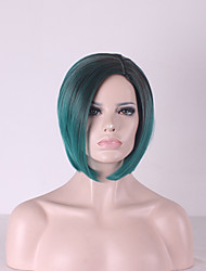 cheap -Best-selling Europe And The United States BOBO Head Wig Black Gradient Green