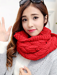 cheap -Women Cute High-end Couple Pure Color Thick Line Twist Warm Knitted Scarf